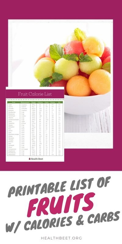 printable list of fruits with calories and carbs