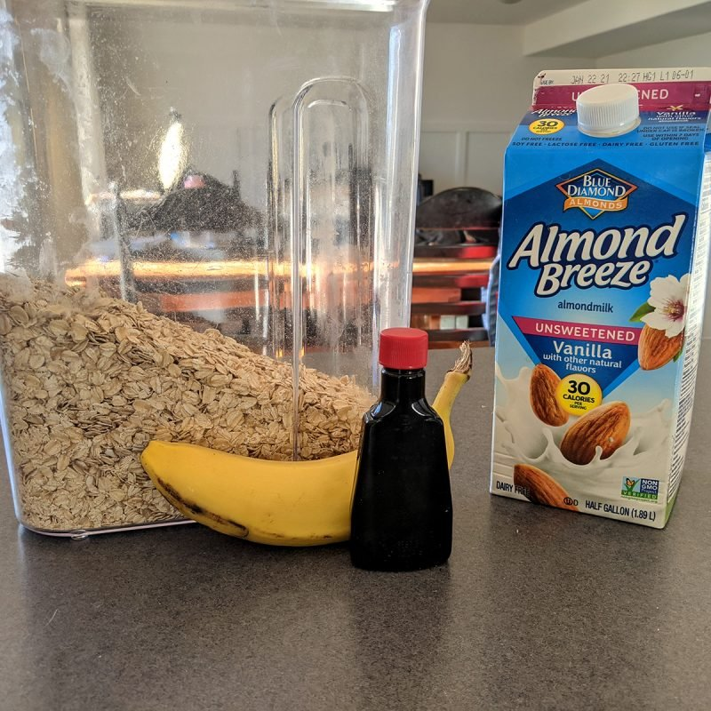 Ingredients for banana bread overnight oats 1200x1200