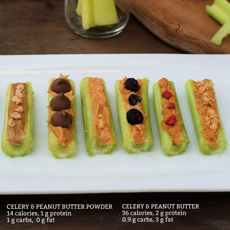 Celery and peanut butter calories and macros plus celery and peanut butter powder for 14 calories per stick