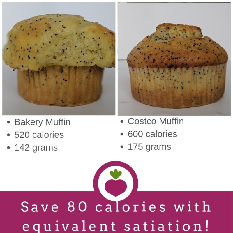 comparing calories in muffins from costco and a bakery
