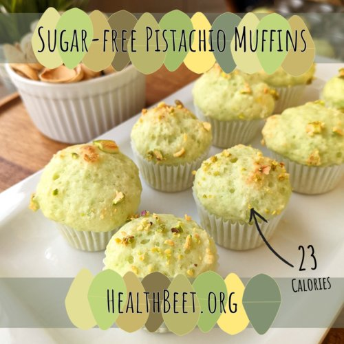 Pistachio and Arrow pointing to 23 calorie mini muffin