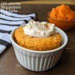 Protein pumpkin mug cake with 190 calories 30 g protein 26 g carbs 1 g fat