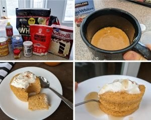 Pumpkin protein mug cake step by step in the microwave