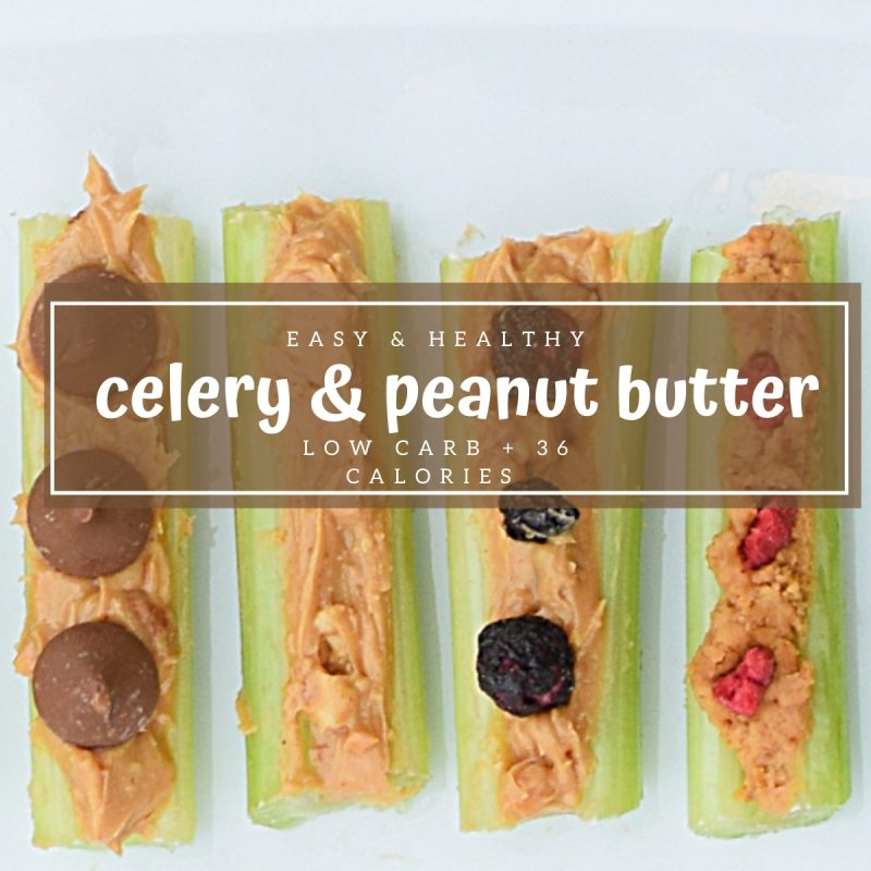 celery and peanut butter low carb low calorie snack idea