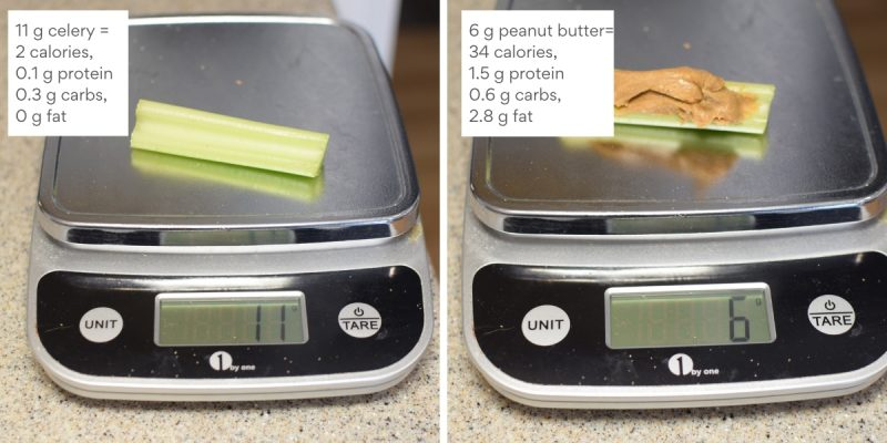 celery and peanut butter on a scale with calories and macros