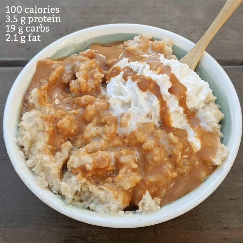 100 calorie salted caramel oats with calories and macros (Custom)