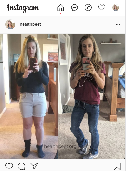IG screenshot of before and after weight loss pictures related to overeating