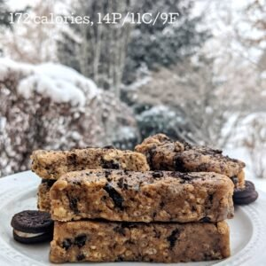 homemade cookies and cream protein bars with calories and macros