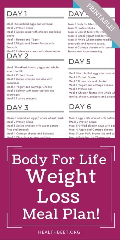 the best body for life meal plan