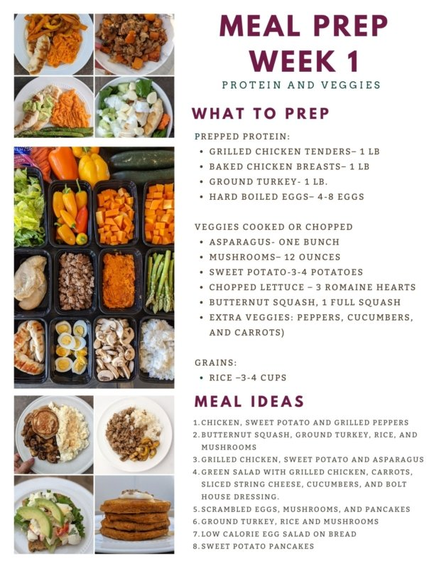 weekly healthy meal prep week 1