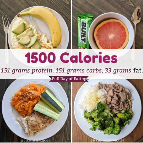 1500 calorie full day of eating with meal prep