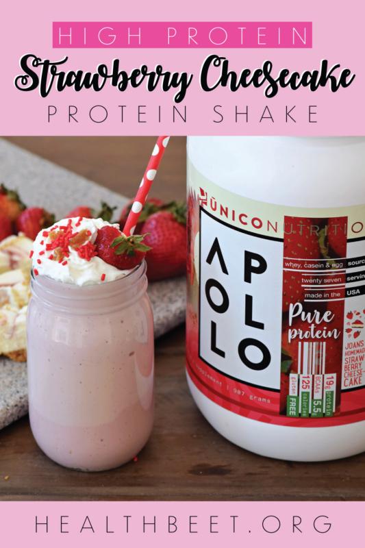 Strawberry Cheesecake Protein shake Pin with Apollo Pure Protein