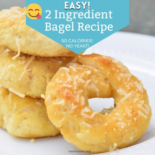 Easy two ingredient bagel recipe with no yeast and only 50 calories
