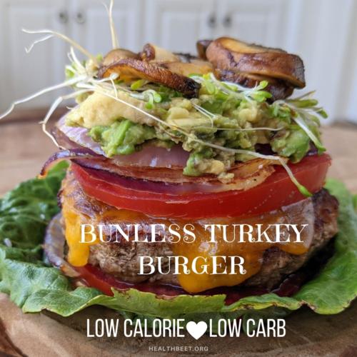 Low calorie low carb bunless turkey burger thumbnail
