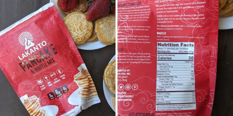 lakanto pancake and waffle mix nutrition label with calories and macros