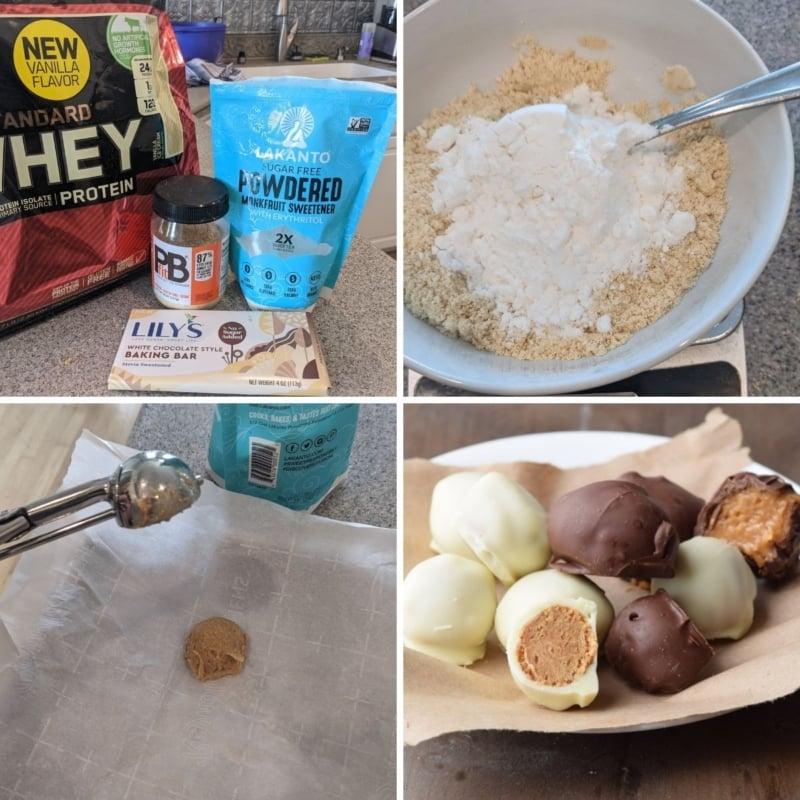making peanut butter protein balls