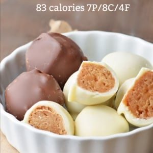 peanut butter protein balls with nutrition info for calories and macros (Custom)