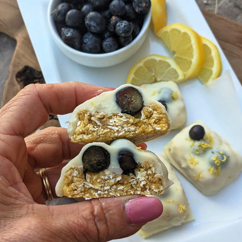 Lemon Blueberry Protein Bars Cross Section 1200x1200