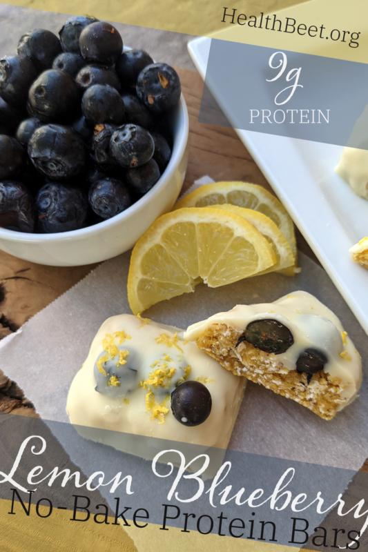 NO BAKE RECIPE Lemon Blueberry Protein Bars Transparent Pin 1000x1500