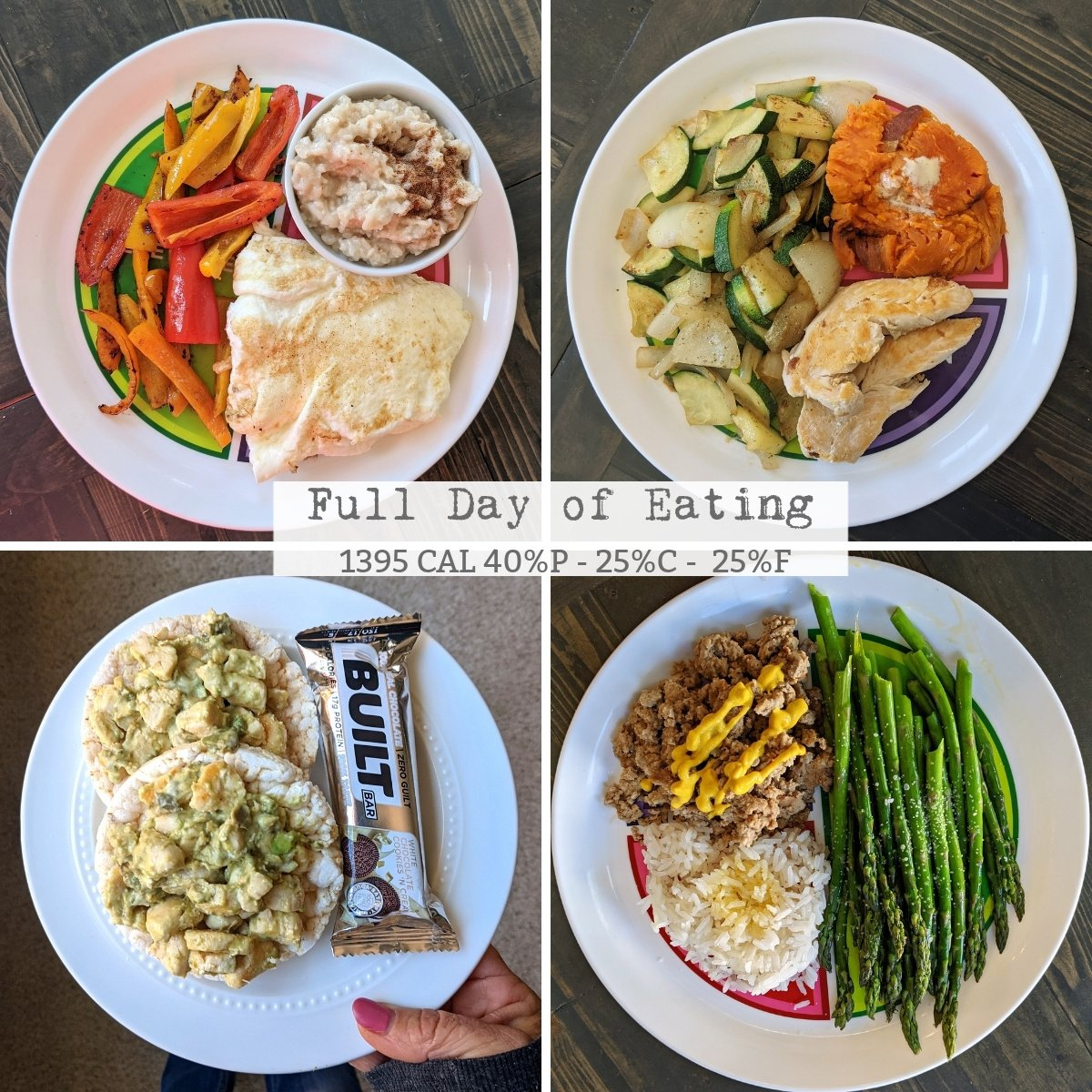 full day of eating 1400 calories 40-35-25