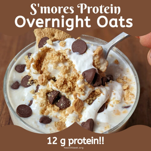 smores overnight oats with protein from greek yogurt