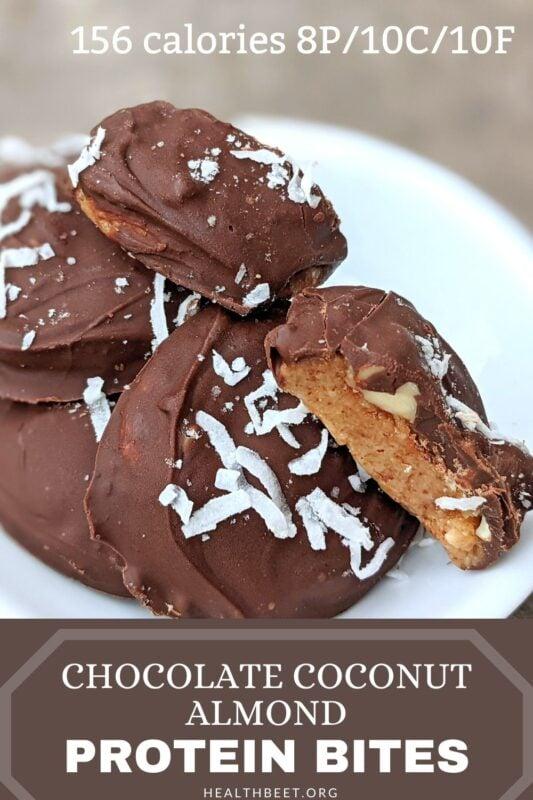 Chocolate almond coconut protein bites 2
