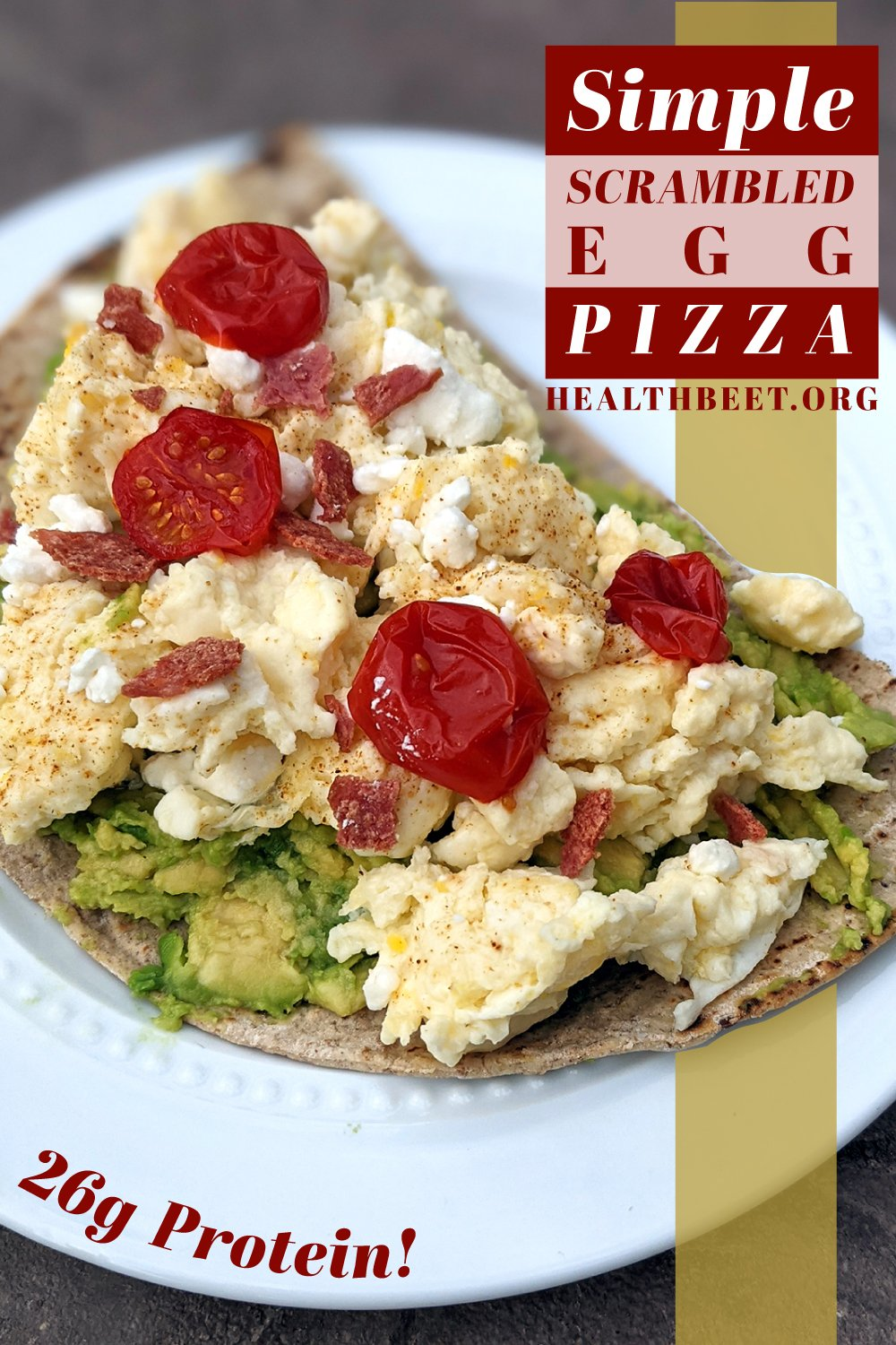 This scrambled egg pizza, on 3 different low calorie crust options, is a quick healthy breakfast idea if you want to start off with some high quality protein. Each pizza has 26 grams of protein!