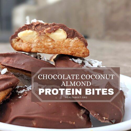 chocolate almond coconut protein bites square