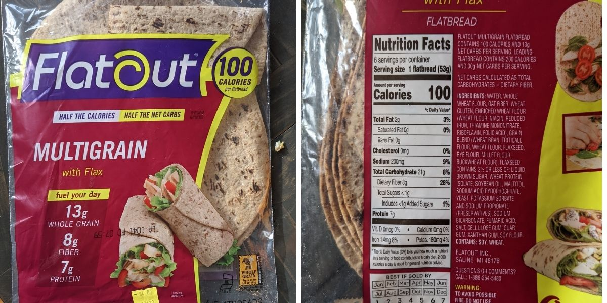 flat out 100 calorie bread with nutrition label