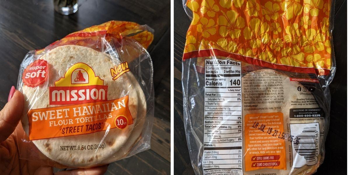 mission sweet hawaiian street taco tortilla label