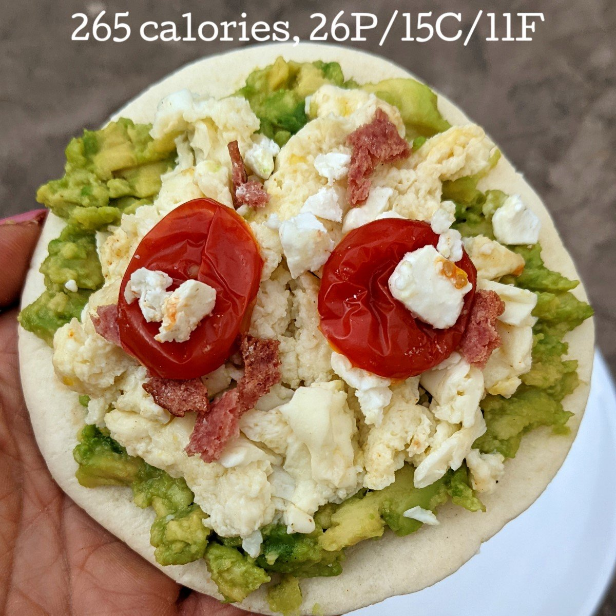 scrambled egg pizza on tortilla with calories and macros