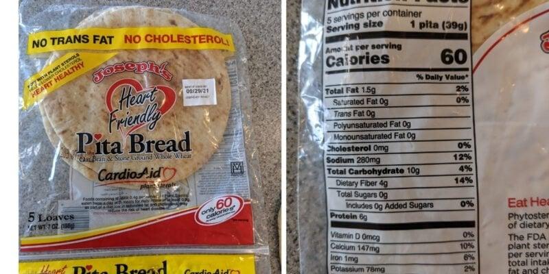 Josephs 60 calorie pita bread nutrition label info