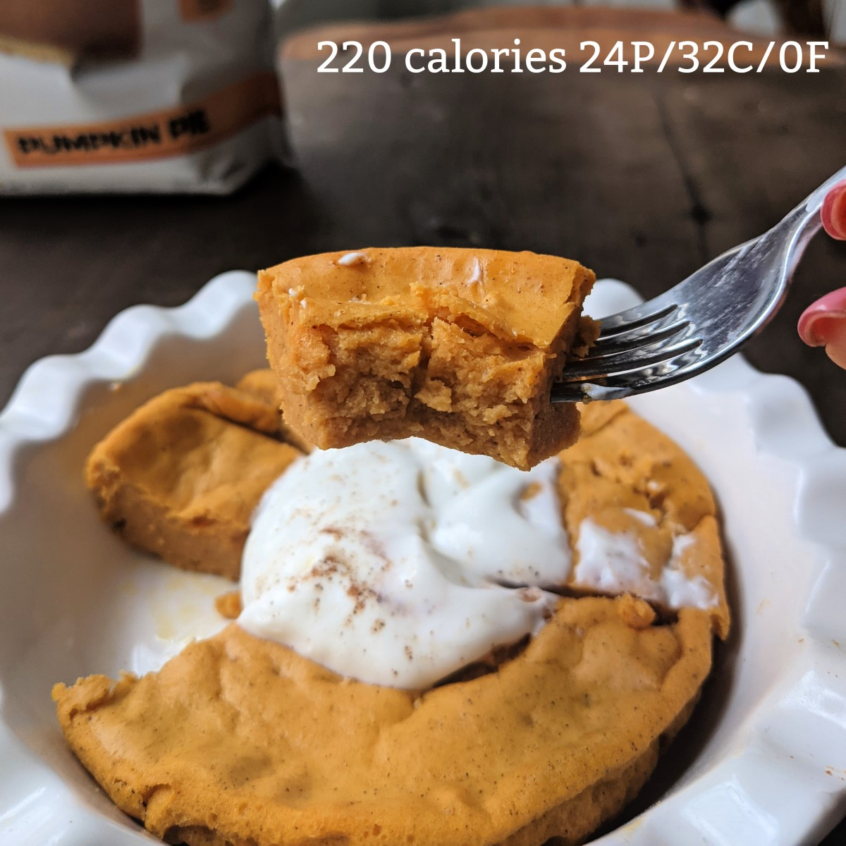 bite of a protein pumpkin pie with calories and macros
